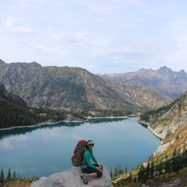 Backing in the Enchantments near Leavenworth WA. Climbing up Aasgard Pass and overlooking Colchuck Lake.