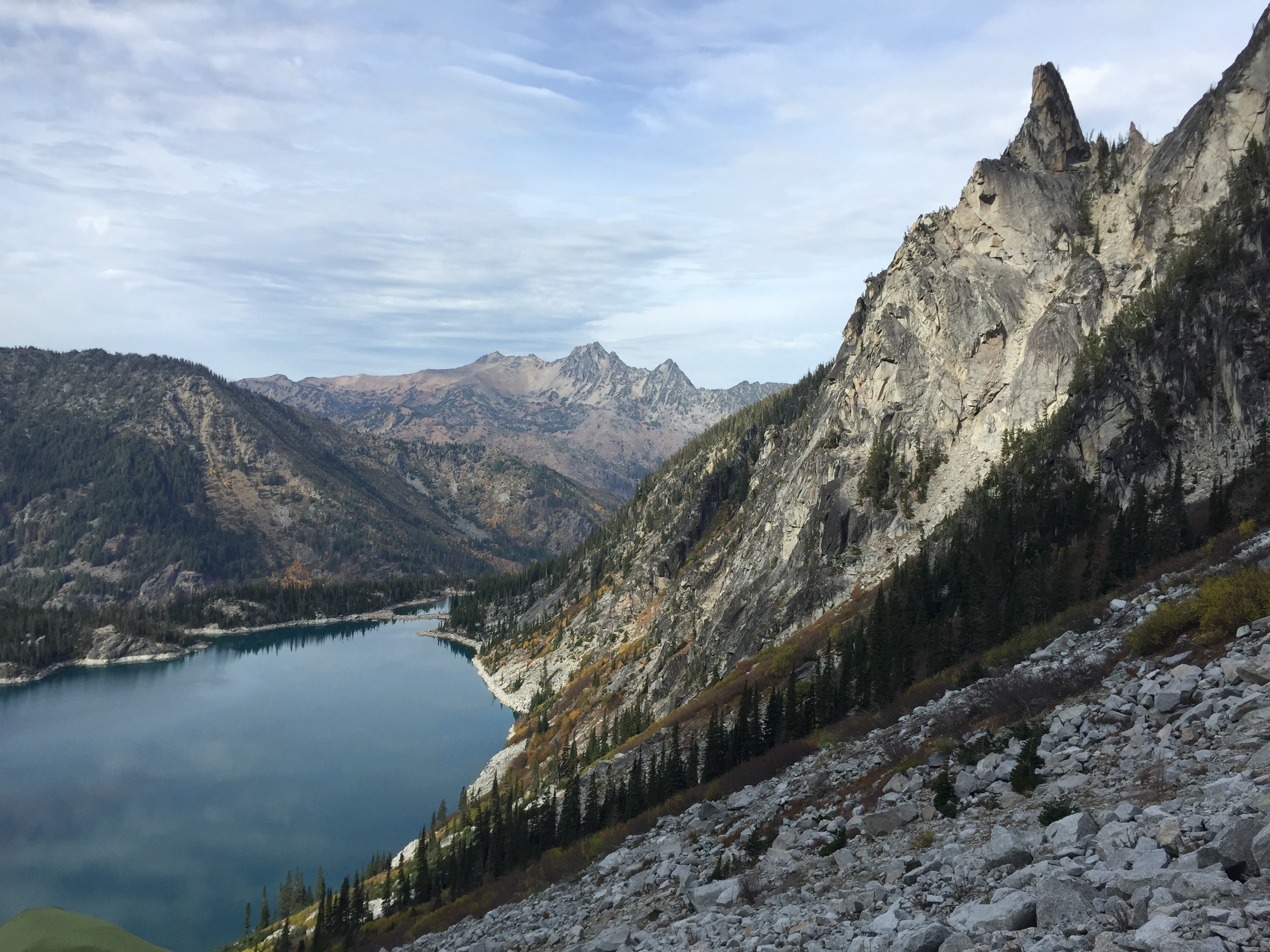 The view from Aasgard Pass. 1 mile and 2,000 ft of elevation gain to overlook Colchuck Lake.